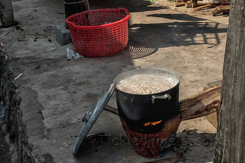Cooking Pot on a Traditional Household Charcoal And Wood Stove