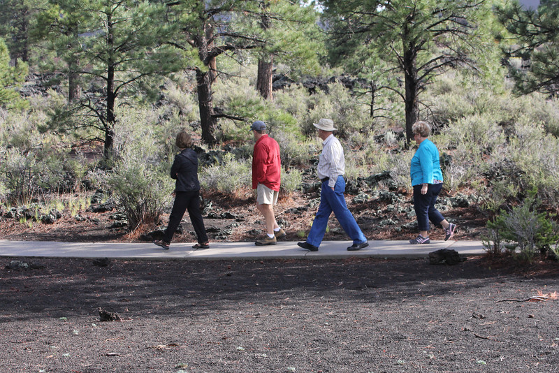 walking in Sunset Crater Volcano National Monument in Flagstaff - Susan, Butch, Edmund, Sandra