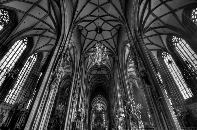 Chandeliers inside the St. Stephen's Cathedral in Vienna, Austria