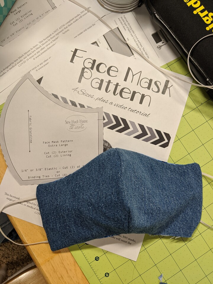 Face Mask with pattern by Sew Much Moore, April 6, 2020