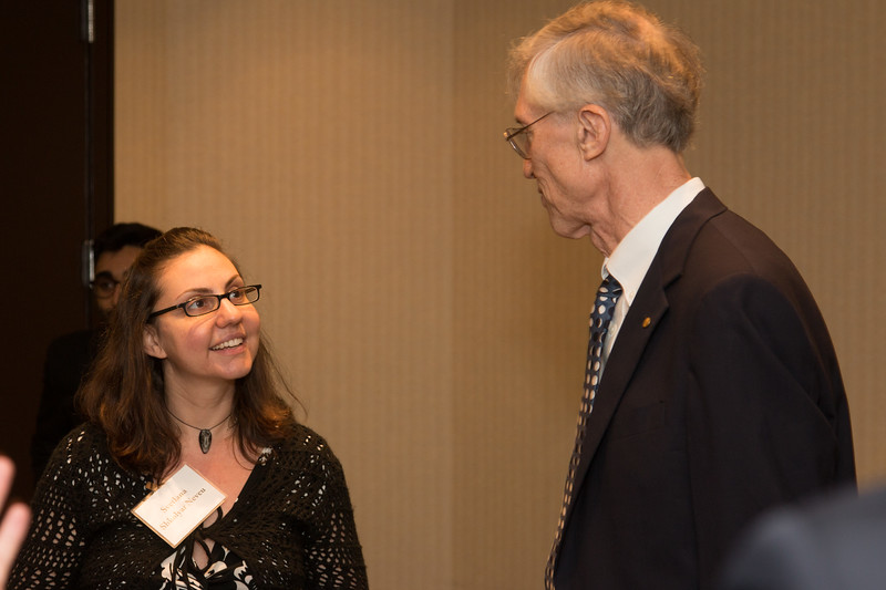 "Svetlana Shkolyar Neveu (a prior awardee) chats with John Mather -- An award luncheon, ""Dr. John Mather Nobel Scholars Program Award"", as part of the National Council of Space Grant Directors and the Maryland Space Grant Consortium, Greenbelt, MD July 28, 2017"