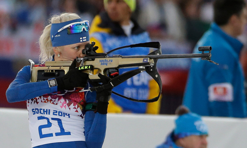 . Finland\'s Kaisa Makarainen shoots during the women\'s biathlon 15k individual race, at the 2014 Winter Olympics, Friday, Feb. 14, 2014, in Krasnaya Polyana, Russia. (AP Photo/Ferdinand Ostrop)