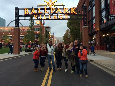 AmeriCorps members celebrating the 20th Anniversary outside Ball Park Village in St. Louis, MO. Corporation for National and Community Service Photo.