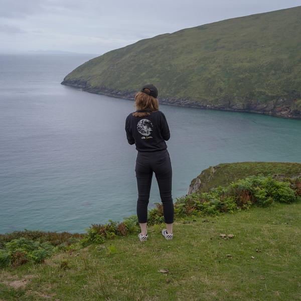 Woman at Keem Bay - western end of Achill Island, Keel, County Mayo, Republic of Ireland