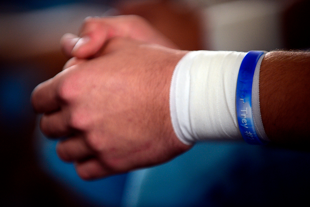 . Players wear bracelets in honor of Trey Johnson as they prepare for their state title game against Kent Denver. Platte Valley went on to lose the game 28-17 despite having a second half lead. AAron Ontiveroz, The Denver Post