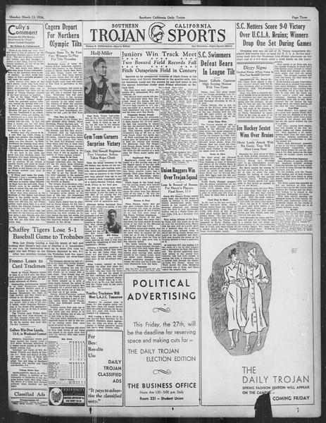 Daily Trojan, Vol. 27, No. 104, March 23, 1936