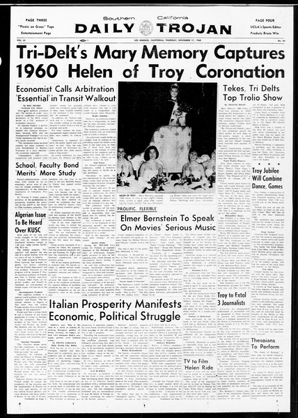 Daily Trojan, Vol. 52, No. 44, November 17, 1960