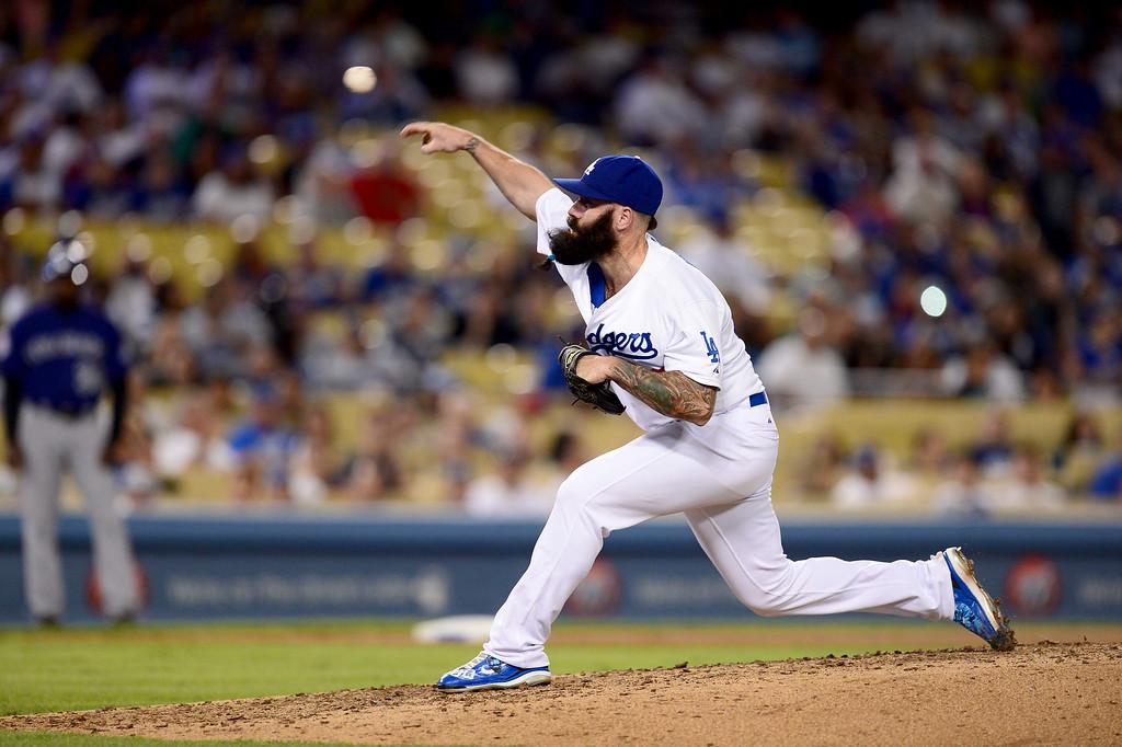 . Dodgers\' Brian Wilson pitches to the Rockies during at Dodger Stadium Saturday, September 28, 2013. (Photo by Sarah Reingewirtz/Pasadena Star-News)