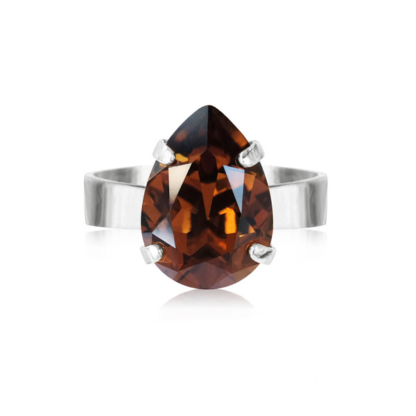 Mini Drop Ring / Smoked Topaz Rhodium