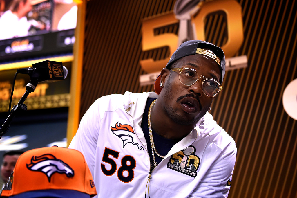 . SAN JOSE, CA - FEBRUARY 01: Denver Broncos linebacker Von Miller (58) answering questions during the Super Bowl 50 Opening Night at the SAP Center, San Jose, CA. February 01, 2016 (Photo by Joe Amon/The Denver Post)