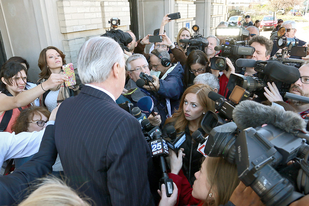 . Edward Ryan Jr. the lawyer for Angelo Colon-Ortiz answers questions from the press outside of the Leomisnter District Court on Tuesday morning, April 18, 2017. SENTINEL & ENTERPRISE/JOHN LOVE