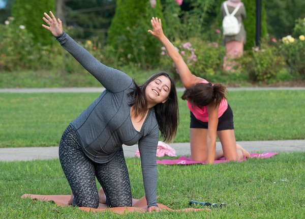 08/27/19 Wesley Bunnell | Staff Yoga in the Park is holding their last week of summer session classes with fall sessions slated to start in September through October. The program was put together by Kelly Murphy from Samatva Wellness in Berlin, the NB Parks and Recreation Department and the New Britain Health Department. Instructor Jocelyn Rivera leads the class.