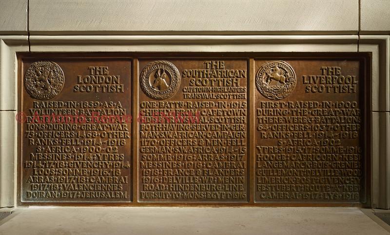 SNWM  Rectangular Bronze, three Scottish Regiments