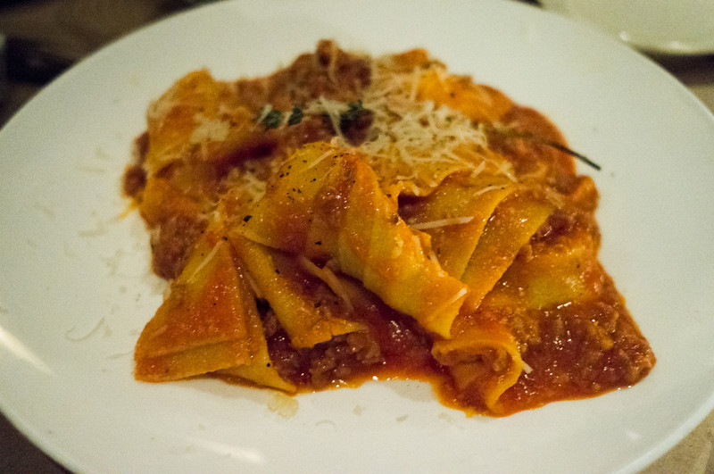 Homemade Pappardelle with sweet sausage and truffle oil at Da Andrea