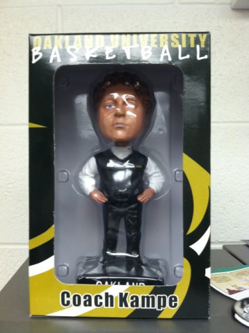 . A picture of the Greg Kampe bobblehead created during the 2006-07 season.