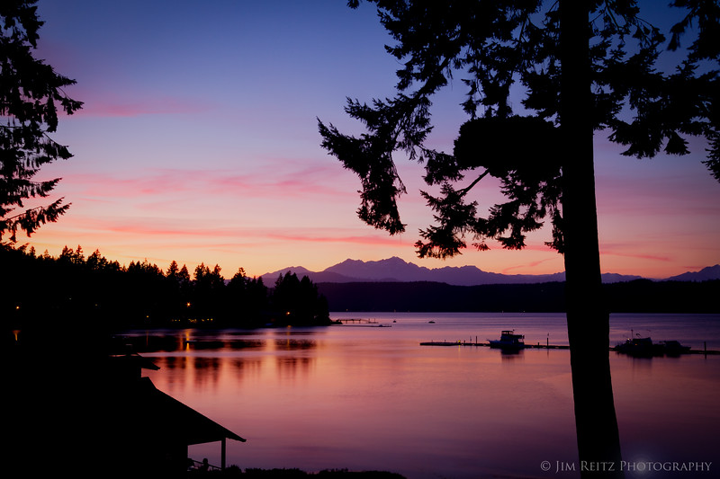 Sunset view from our deck, Alderbrook Resort.