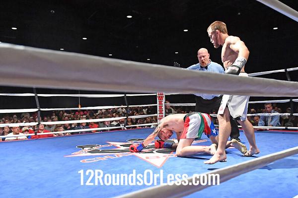 Bout 5 Josh Baker, Silver Wrist-wraps -vs- Rick Caruso, Blue Wrist-wraps, Pro Kick-boxing