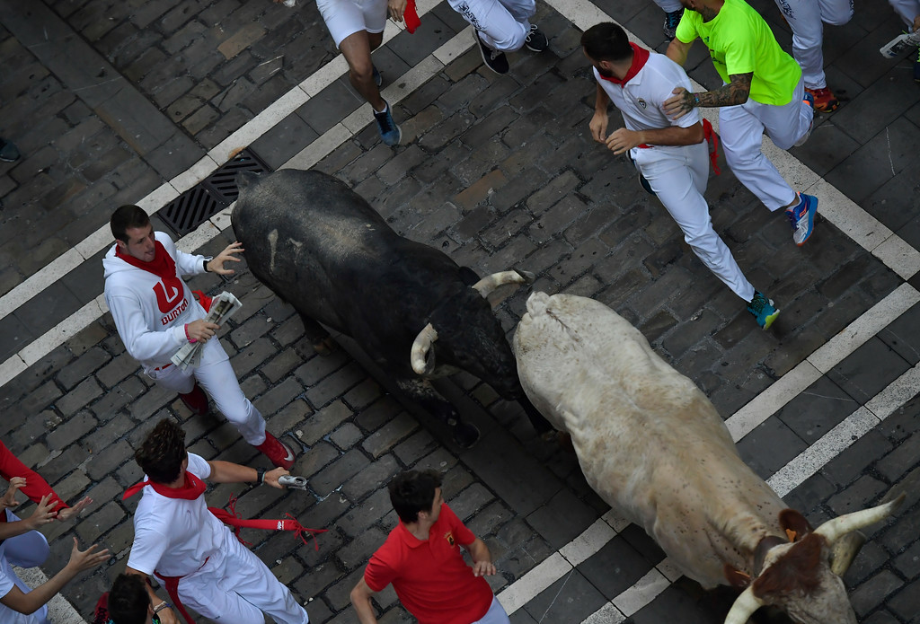 . Revellers run next to a fighting bull from the Cebada Gago ranch and a steer during the third day of the running of the bulls at the San Fermin Festival in Pamplona, northern Spain, Monday, July 9, 2018. Revellers from around the world flock to Pamplona every year to take part in the eight days of the running of the bulls. (AP Photo/Alvaro Barrientos)