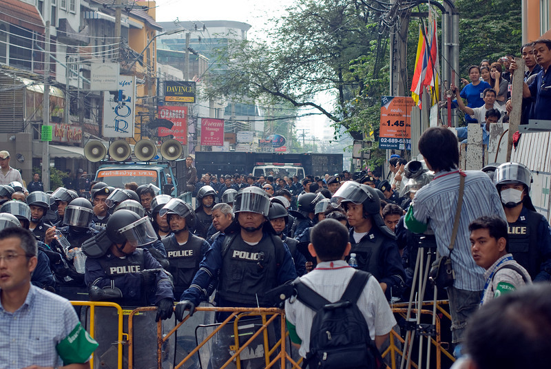 Riot police getting ready during Red Shirt Protest in Thailand