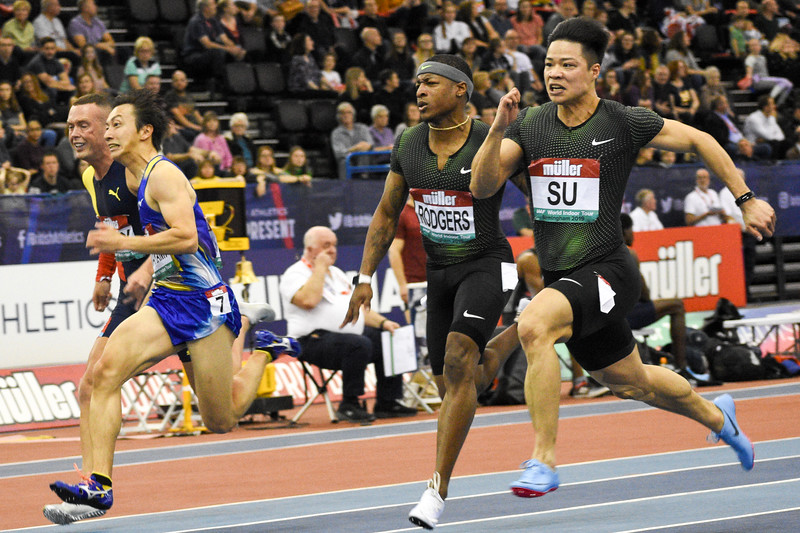 The mens 60 metre final at the Muller Indoor Grand Prix. Bingtian Su of China takes the win in a seasons best time of 6.47 seconds.