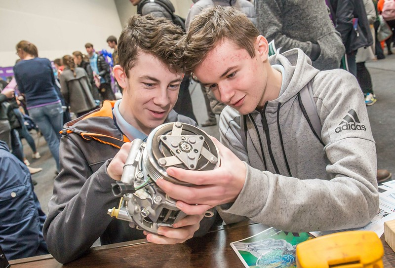 Jason Roche and Mateusz Skraba, St Mary's CBS, Enniscorthy during the Waterford Institute of Technology Schools' Open Day at the WIT Arena. On Saturday, 20 January, WIT is running another open day, the #StudyatWIT Open Day which will have information available on all courses available across WIT's schools of Lifelong Learning, Humanities, Engineering, Science & Computing, Health Sciences, Business. Picture: Pat Moore