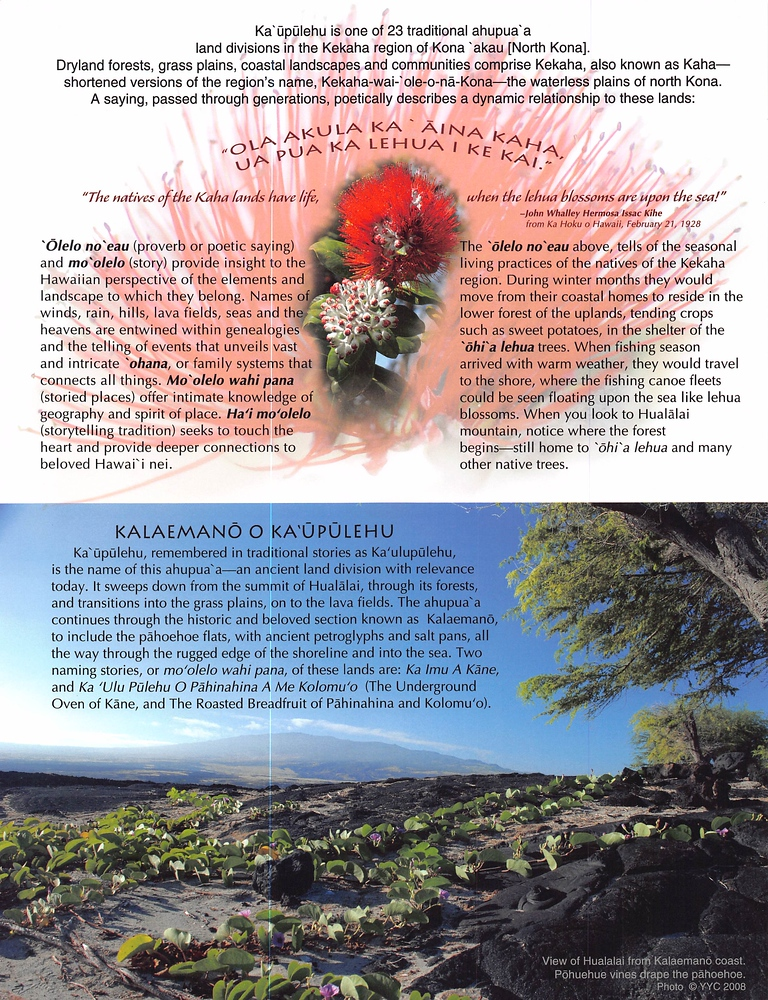 Kalaemano shoreline 4-page brochure of Ka'ūpūlehu downloadable