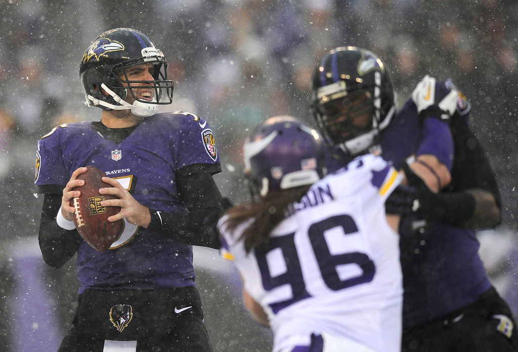 . Baltimore Ravens quarterback Joe Flacco, left, prepares to throw to a receiver as he is pressured by Minnesota Vikings defensive end Brian Robison (96) in the first half of an NFL football game on Sunday, Dec. 8, 2013, in Baltimore. (AP Photo/Nick Wass)