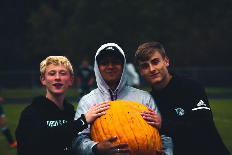 Holy Family Boys Varsity Soccer Section 6A Quarterfinal vs. Monticello, 10/10/19: Rory Johnson '20 (16), Asst. Coach Drew Ramos and David Torborg '20 (20)