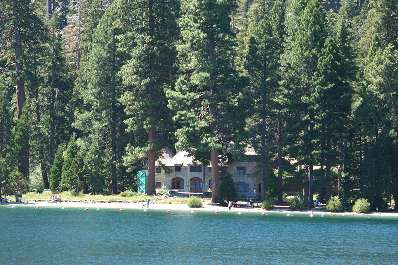 In the 1920s a wealthy lady built this mansion on the shore of Emerald Bay.  Up to 200 workers were employed at one time over several years.