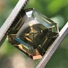 4.57ct Fancy Dark Greenish Yellow Brown Asscher Cut Diamond GIA 34
