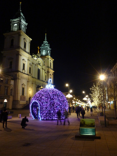 A Large colored ornament in front of the Holy Cross Church on Nowy Swiat in Warsaw, Poland.