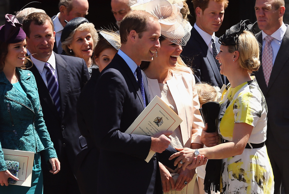 . Members of the Royal family including Princess Eugenie, Peter Phillips, Prince William, Duke of Cambridge, Catherine, Duchess of Cambridge, Prince Harry, Mike Tindall and Zara Phillips leave a service of celebration to mark the 60th anniversary of the Coronation Queen Elizabeth II at Westminster Abbey on June 4, 2013 in London, England. The Queen\'s Coronation took place on June 2, 1953 after a period of mourning for her father King George VI, following her ascension to the throne on February 6, 1952. The event 60 years ago was the first time a coronation was televised for the public.  (Photo by Dan Kitwood/Getty Images)