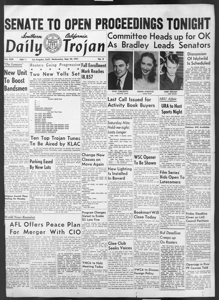 Daily Trojan, Vol. 43, No. 8, September 26, 1951