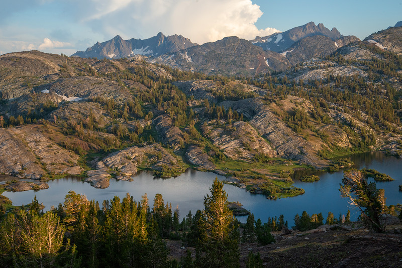 Thousand Island Lake snakes through dramatic geology in the Ansel Adams Wilderness.
