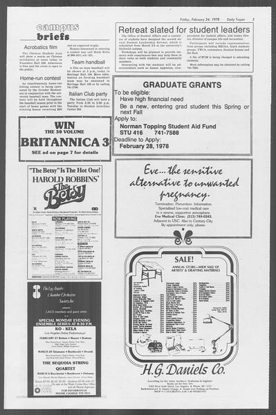Daily Trojan, Vol. 73, No. 12, February 24, 1978