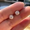 1.70ctw Old European Cut Diamond Clover Stud Earrings, GIA H-I SI 5