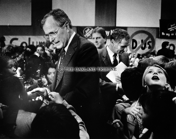 . Berkeley, CA September 25, 1986 - Vice President George Bush and California Governor Duke Deukmejian leave Columbus Intermediate School auditorium after a discussion on drug abuse. (Ron Riesterer / Oakland Tribune Staff Archives)