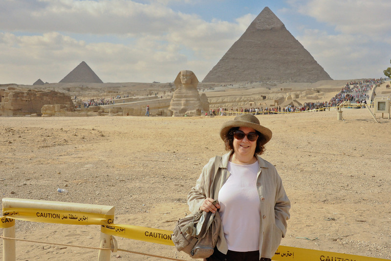 Renee Mirsky at the Giza Plateau with the Great Sphinx, the Pyramid of Khafre (right; son of Khufu) and the Pyramid of Menkaure (aka Mycerinus; son of Khafre; southernmost). _D7C8119