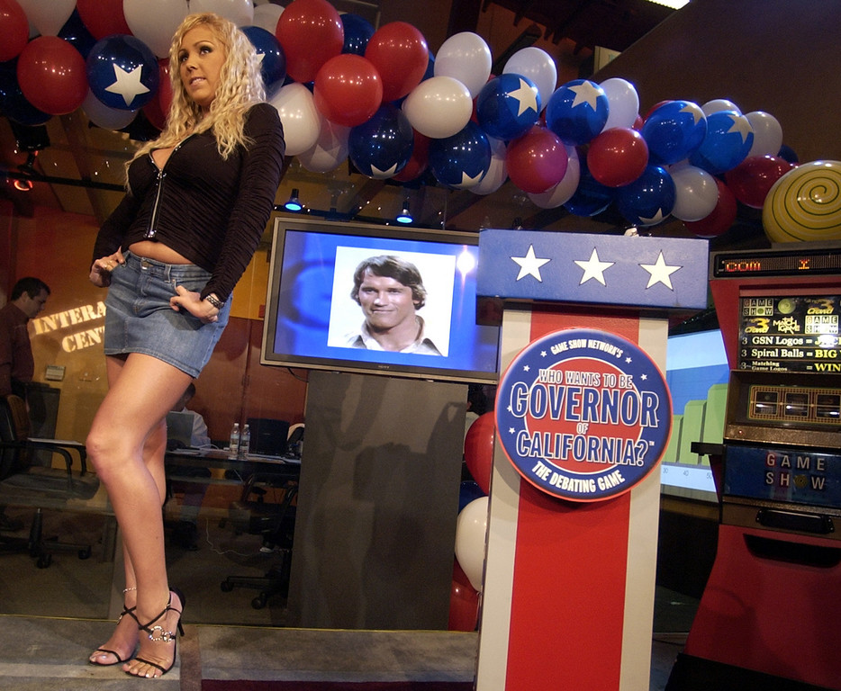 . Mary Carey, a candidate in the California recall election, makes a media appearance at the Game Show Network studio in Culver City, Calif., Tuesday, Oct. 7, 2003.(AP Photo/Joe Cavaretta)