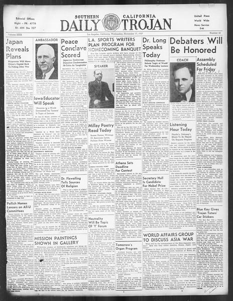 Daily Trojan, Vol. 29, No. 42, November 17, 1937