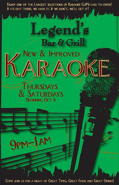 Legend's Bar & Grill Karaoke Flyer