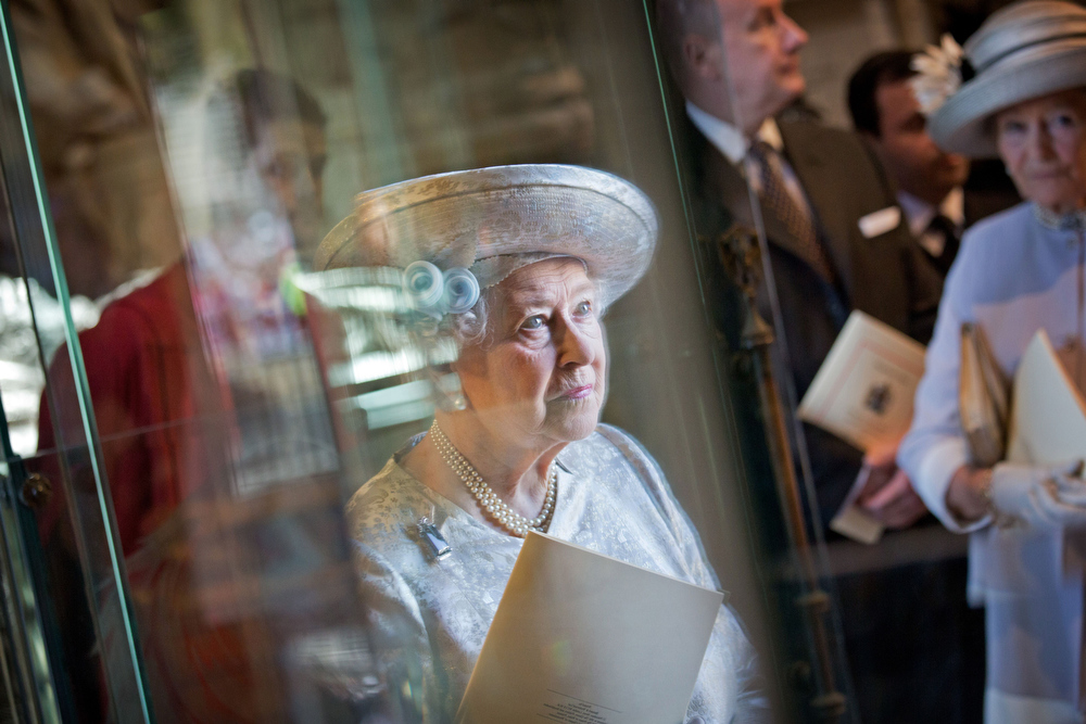 . Queen Elizabeth II looks on during a service to celebrate the 60th Anniversary of the Coronation Service at Westminster Abbey in London on June 4, 2013.  Queen Elizabeth II marked the 60th anniversary of her coronation with a service at Westminster Abbey filled with references to the rainy day in 1953 when she was crowned.  JACK HILL/AFP/Getty Images
