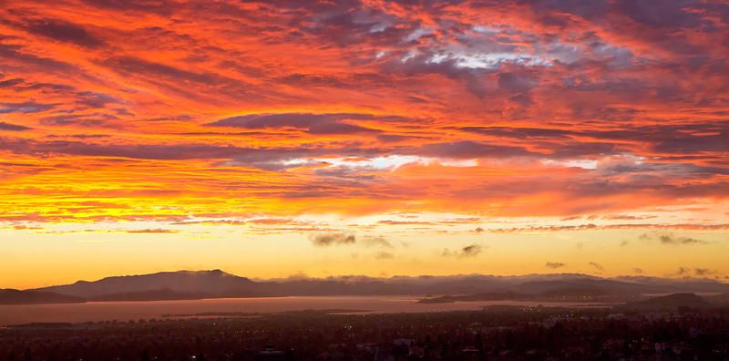 "Bay Area Sunset. 32"" x 16"""