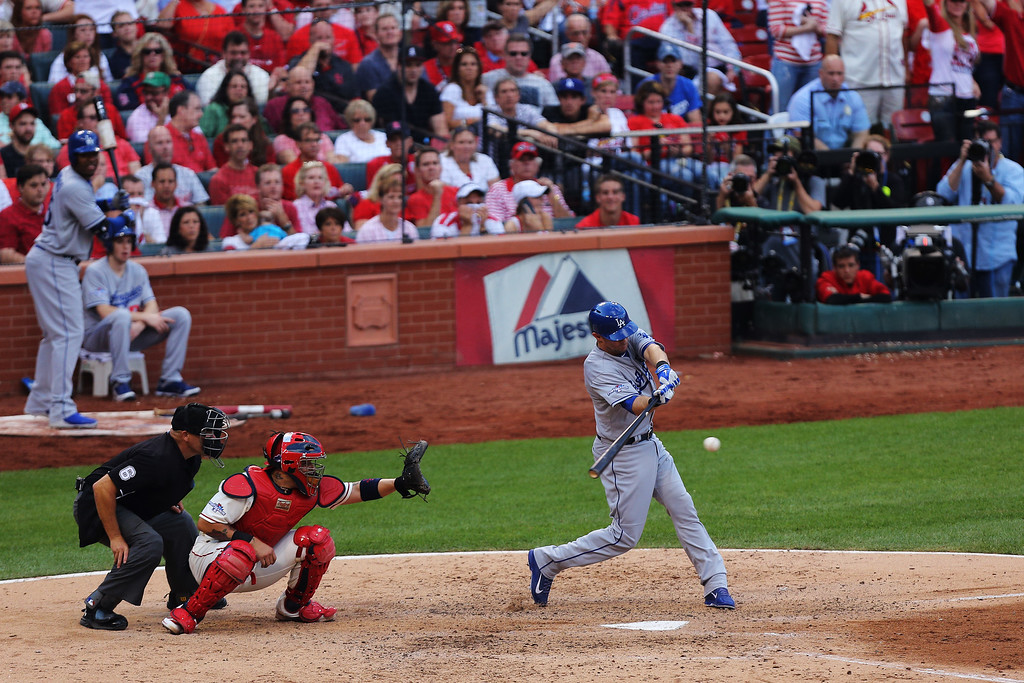 . ST LOUIS, MO - OCTOBER 12:  Michael Young #10 of the Los Angeles Dodgers flies out in the seventh inning against the St. Louis Cardinals during Game Two of the National League Championship Series at Busch Stadium on October 12, 2013 in St Louis, Missouri.  (Photo by Ed Zurga/Getty Images)