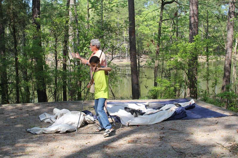 setting up camp on Jordan Lake