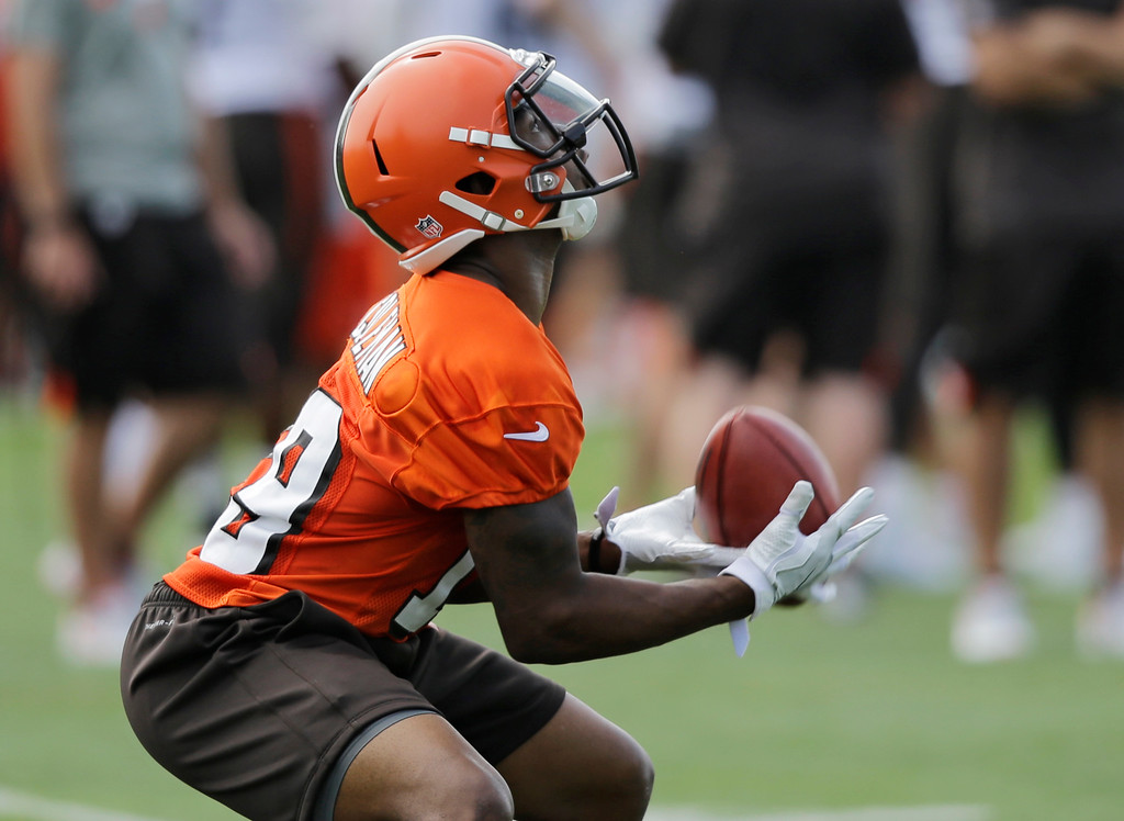 . Cleveland Browns wide receiver Corey Coleman catches a pass during practice at the NFL football team\'s training camp facility, Thursday, July 27, 2017, in Berea, Ohio. (AP Photo/Tony Dejak)