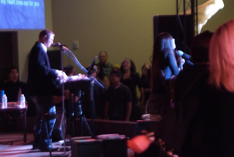 Mathew and Siobhan lead worship.