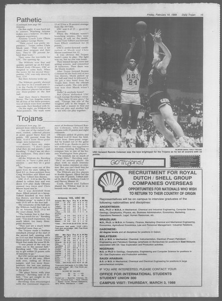 Daily Trojan, Vol. 106, No. 27, February 19, 1988