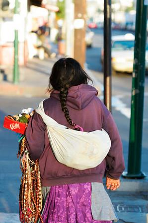 A street vendor walked back to home
