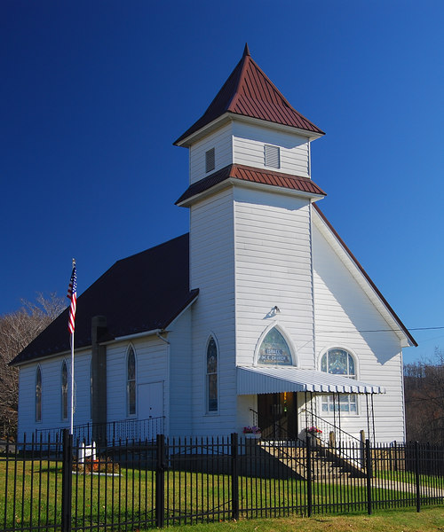 Church in Fellowsville where many of the Friends are buried.